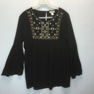Loft black embroidered bell sleeve tunic blouse
